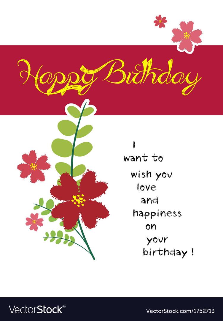 Happy birthday flower vector image