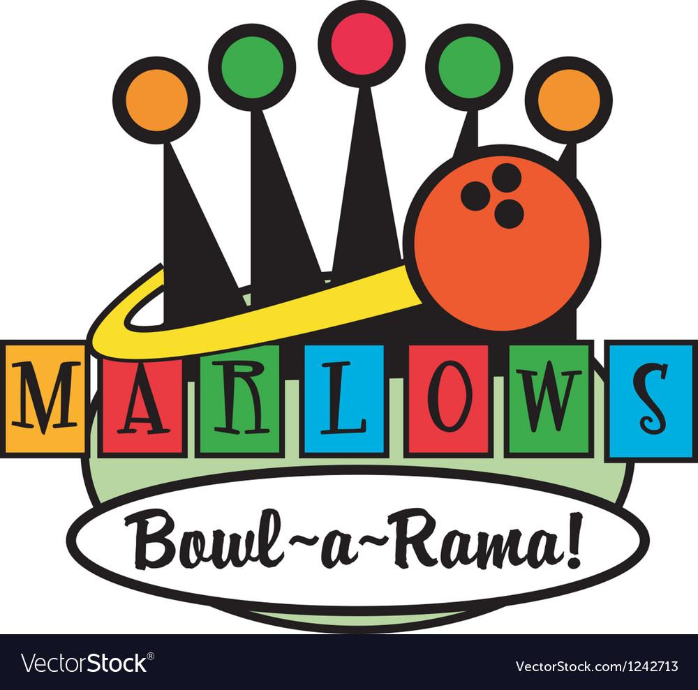 Retro Bowling Alley logos vector image