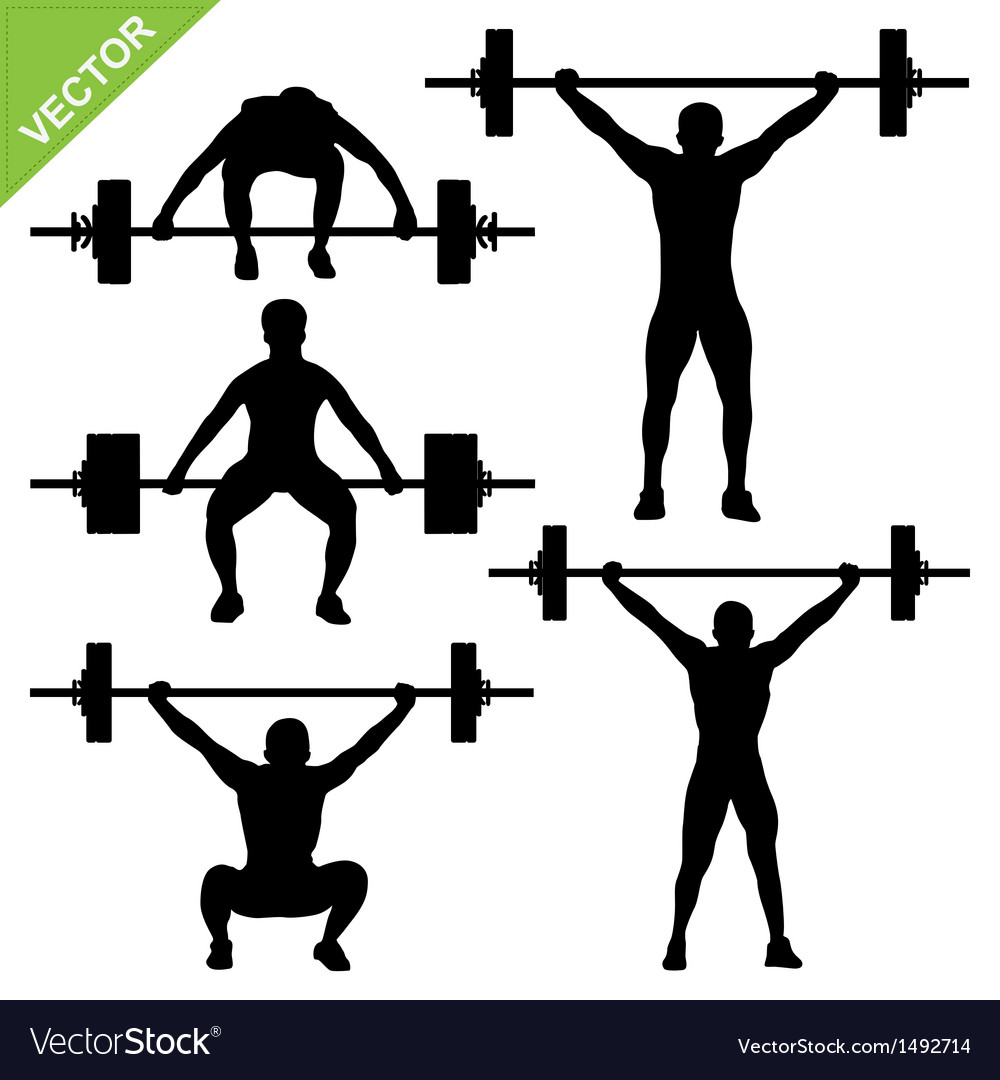 weight lifting silhouettes vector image