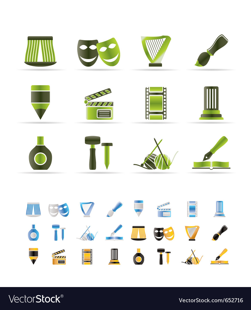Different kind of art icons vector image