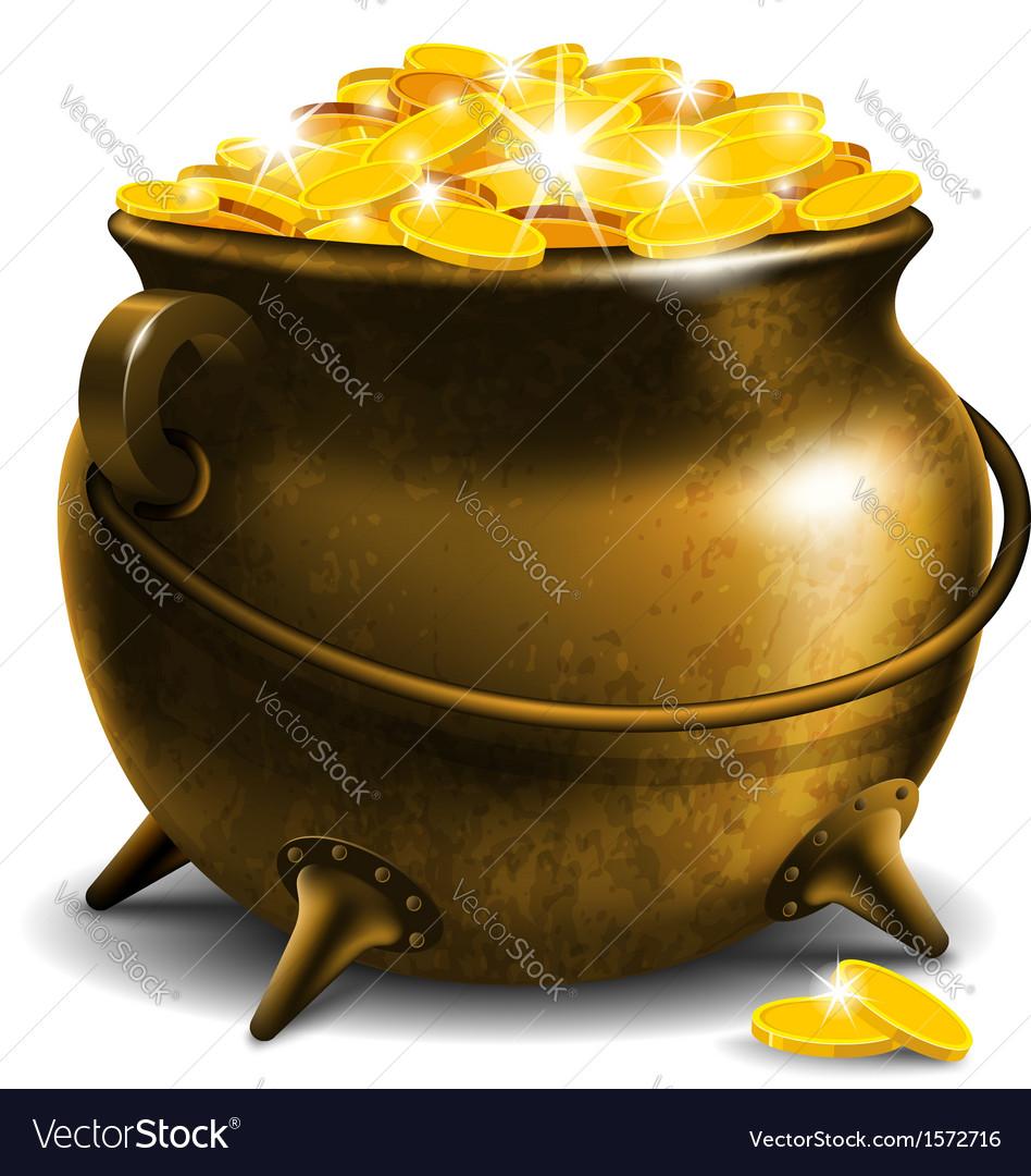 Pot with treasure vector image