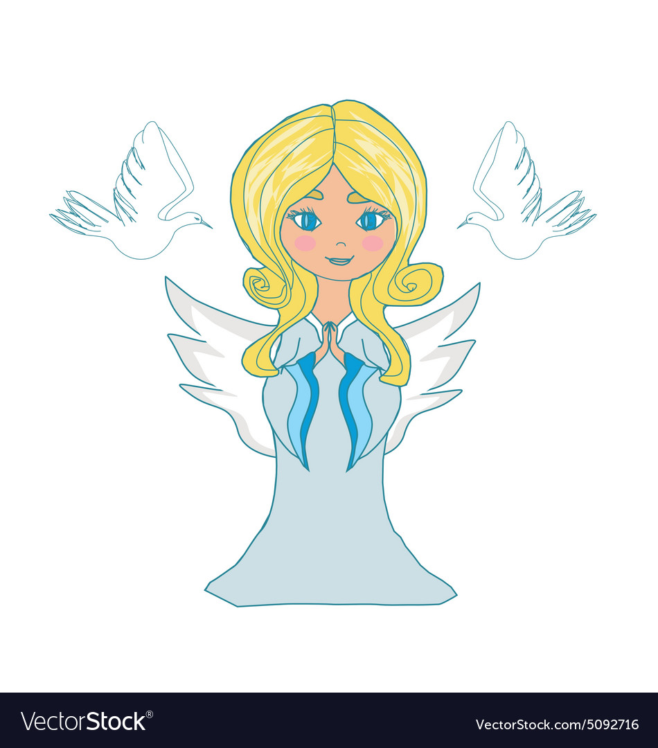 Sweet little girl angel and two doves vector image