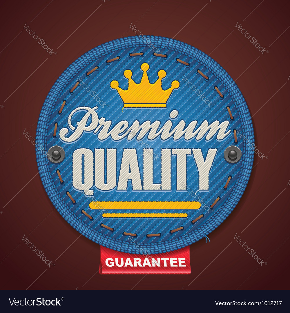 Premium quality fabric badge Vector Image