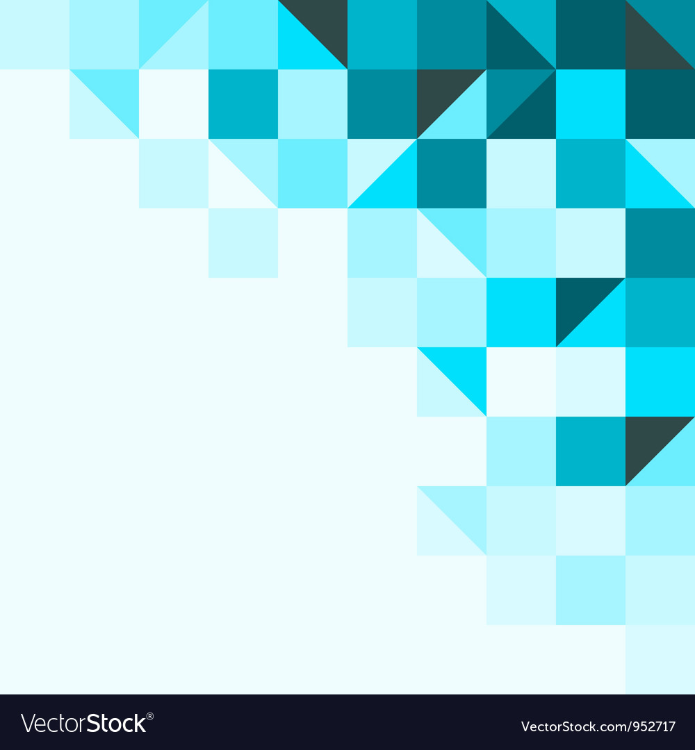 Blue background with triangles and squares vector image
