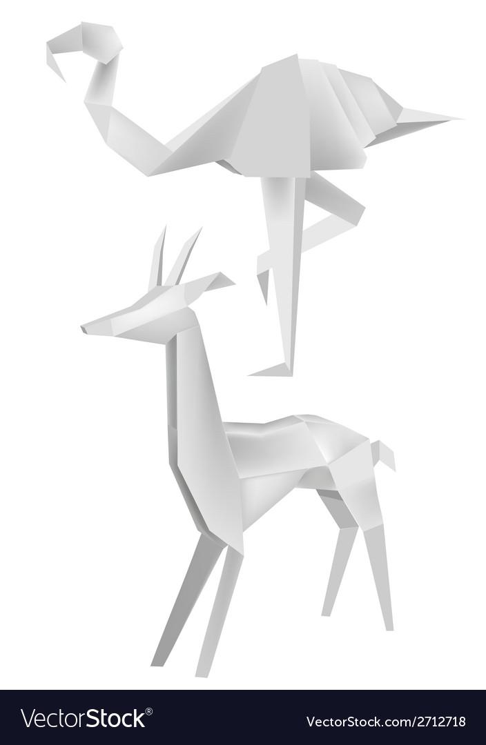 Origami Flamingo Roe Royalty Free Vector Image