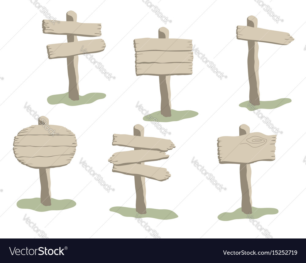 Cartoon style weathered wooden sign set vector image