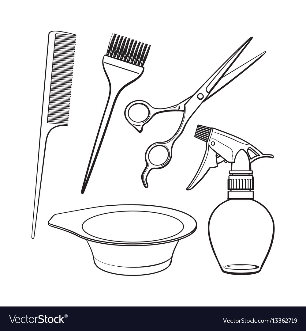 Hairdresser objects like scissors brush comb vector image