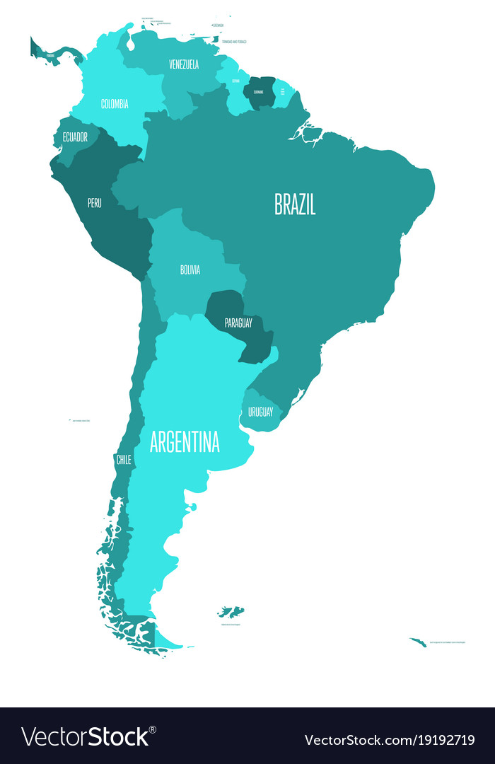 Simple World Map Flat. Political map of south america simple flat vector image Vector Image