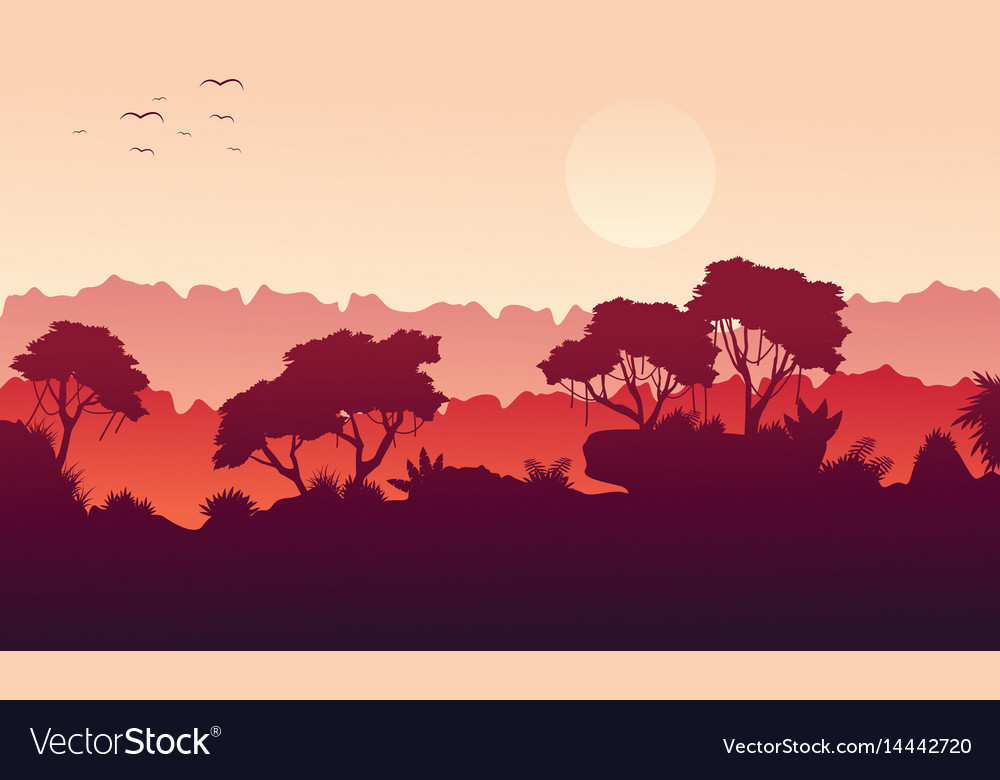 Collection landscape jungle with tree silhouette vector image