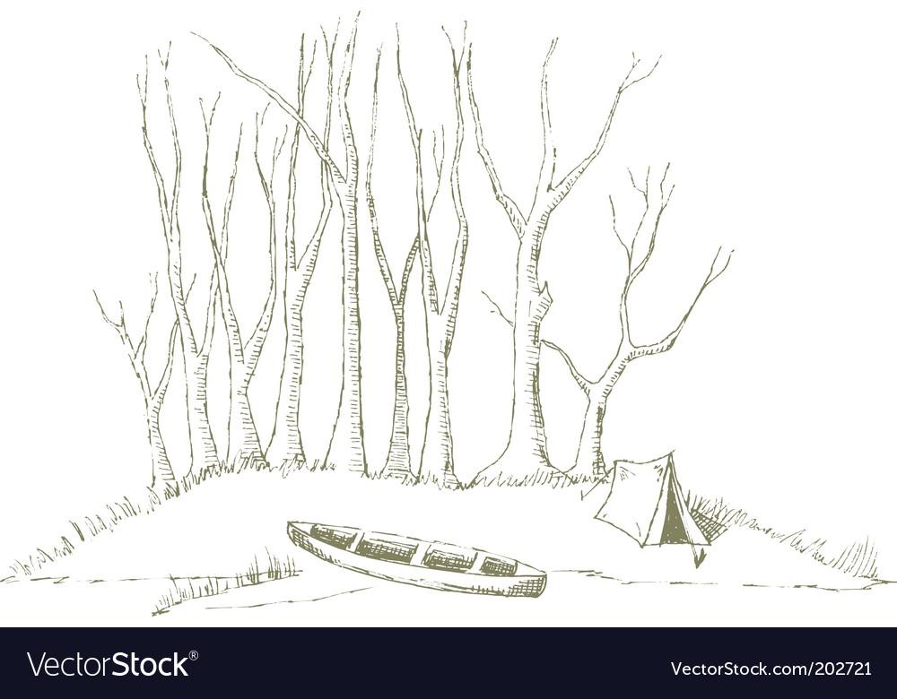 Canoe camp vector image