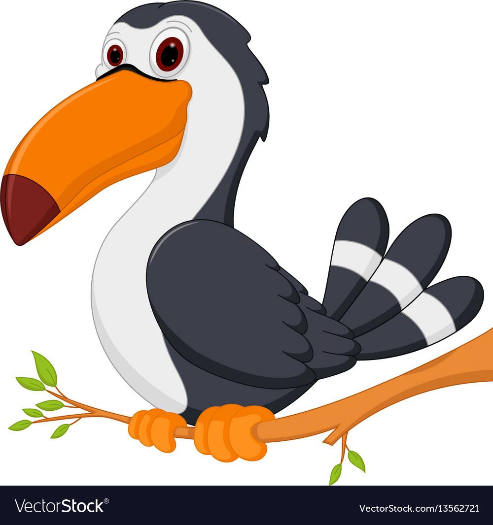 Cute toucan bird cartoon sit on tree vector image