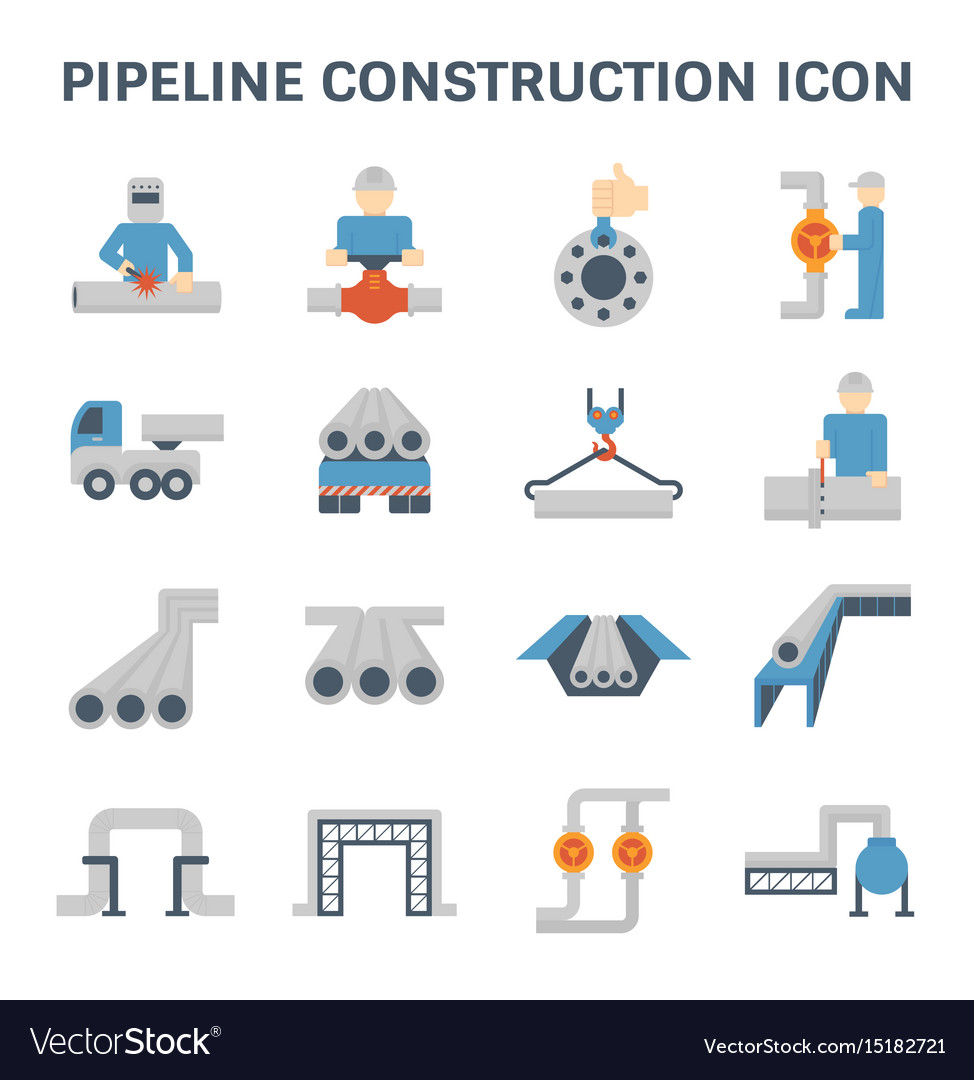 Pipeline construction icon vector image
