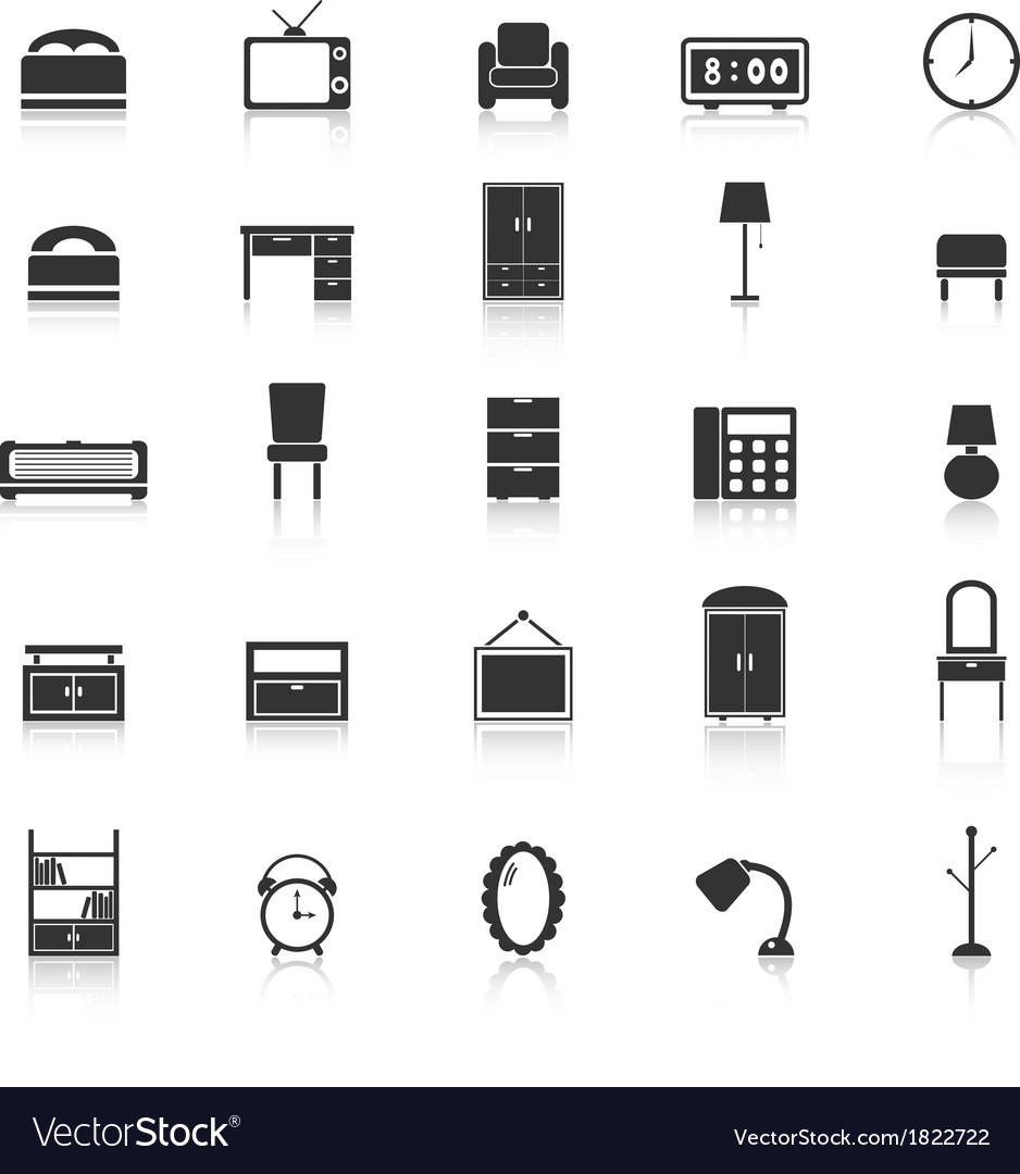 Bedroom icons with reflect on white background vector image