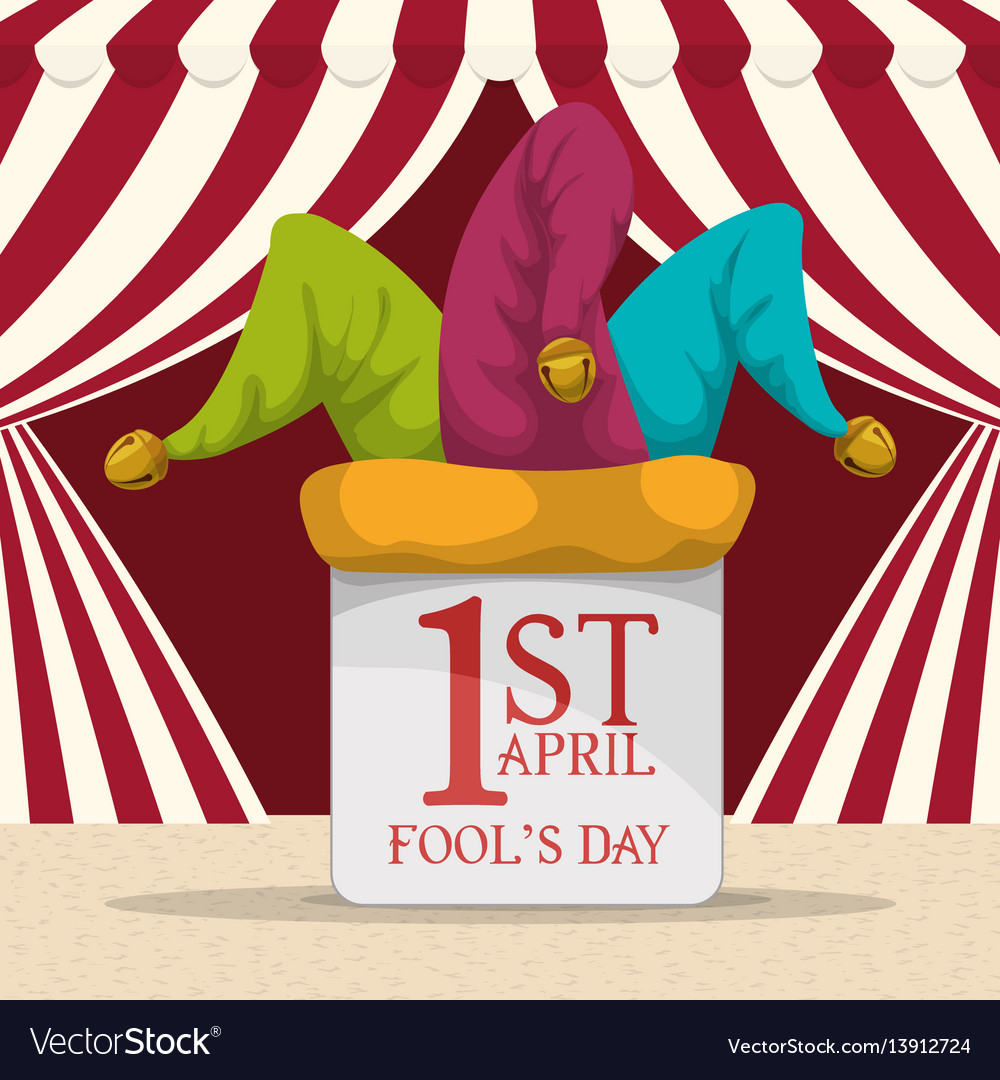 April fools day hat joker background vector image