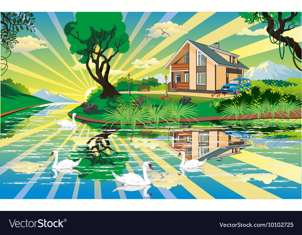 Landscape - country house near the river with vector image