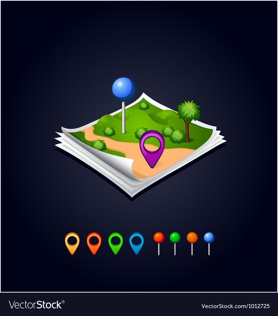 Map with GPS icons and sheets paper vector image