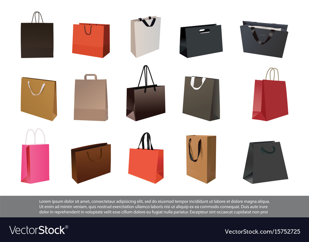 Set of empty paper shopping bag vector image