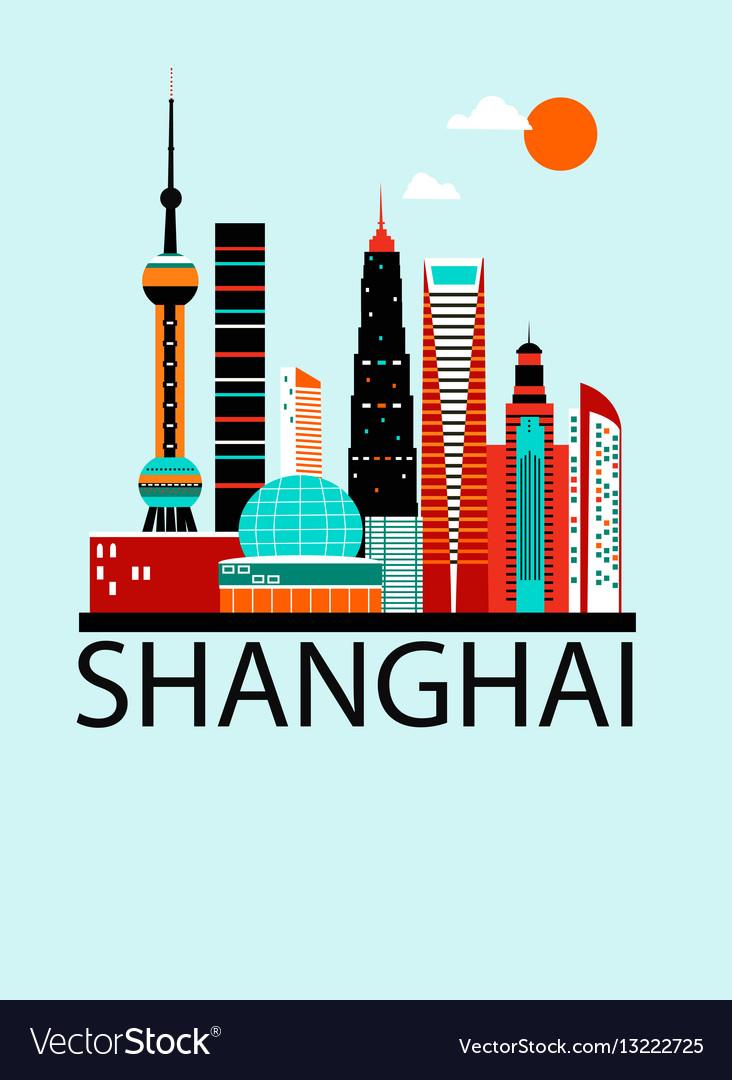 Shanghai china travel background vector image