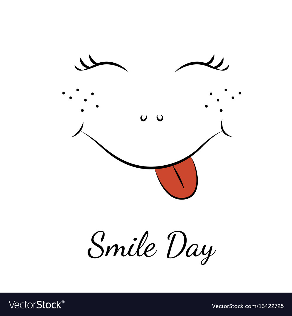 Smile day symbol character smiley face red tongue vector image biocorpaavc Images