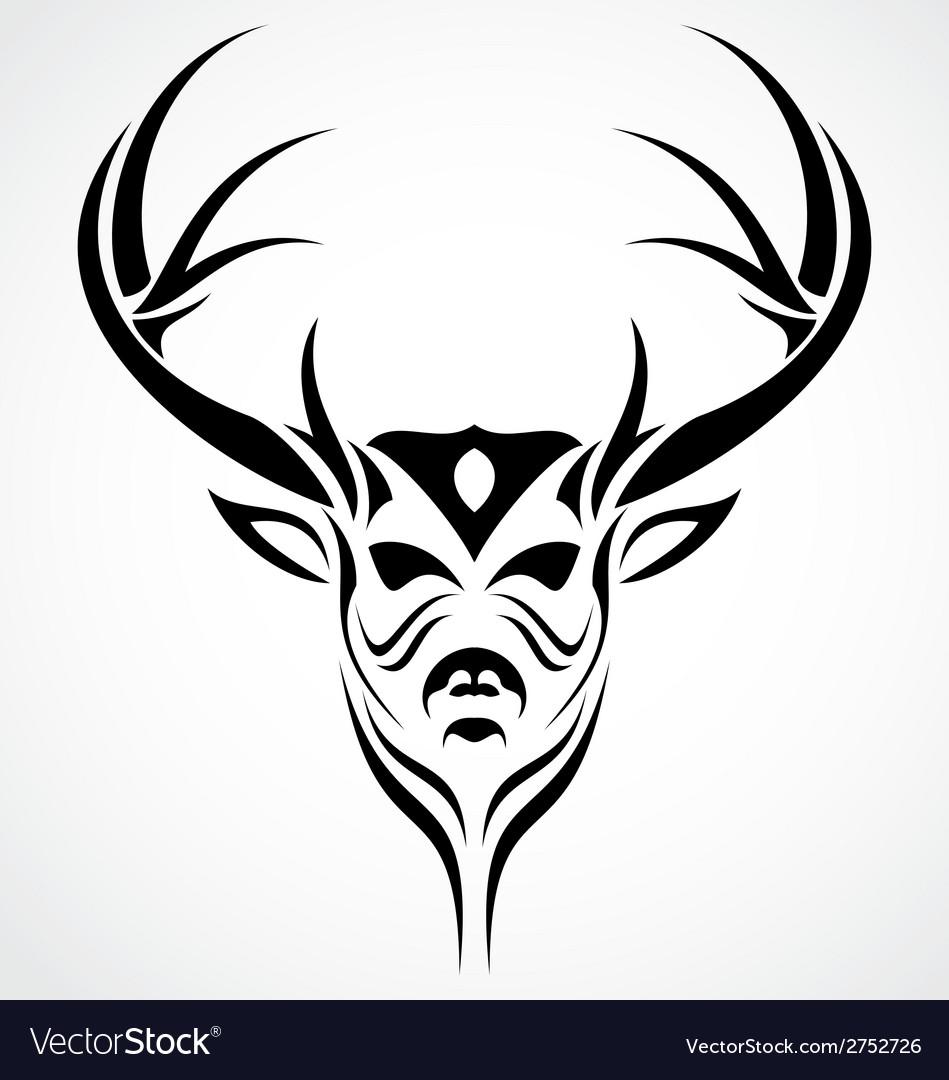 deer head tattoo design royalty free vector image. Black Bedroom Furniture Sets. Home Design Ideas