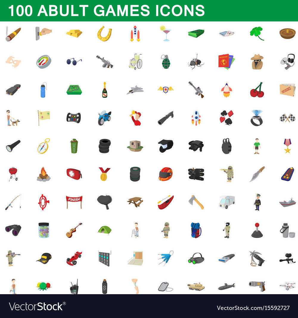100 adult games icons set cartoon style vector image