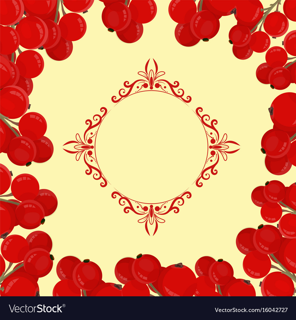 Frame of green branches with red currant vector image