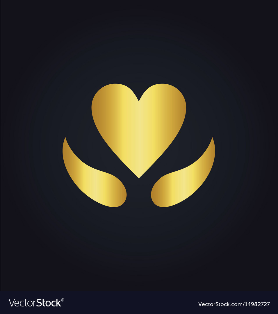 Heart love sign gold logo vector image