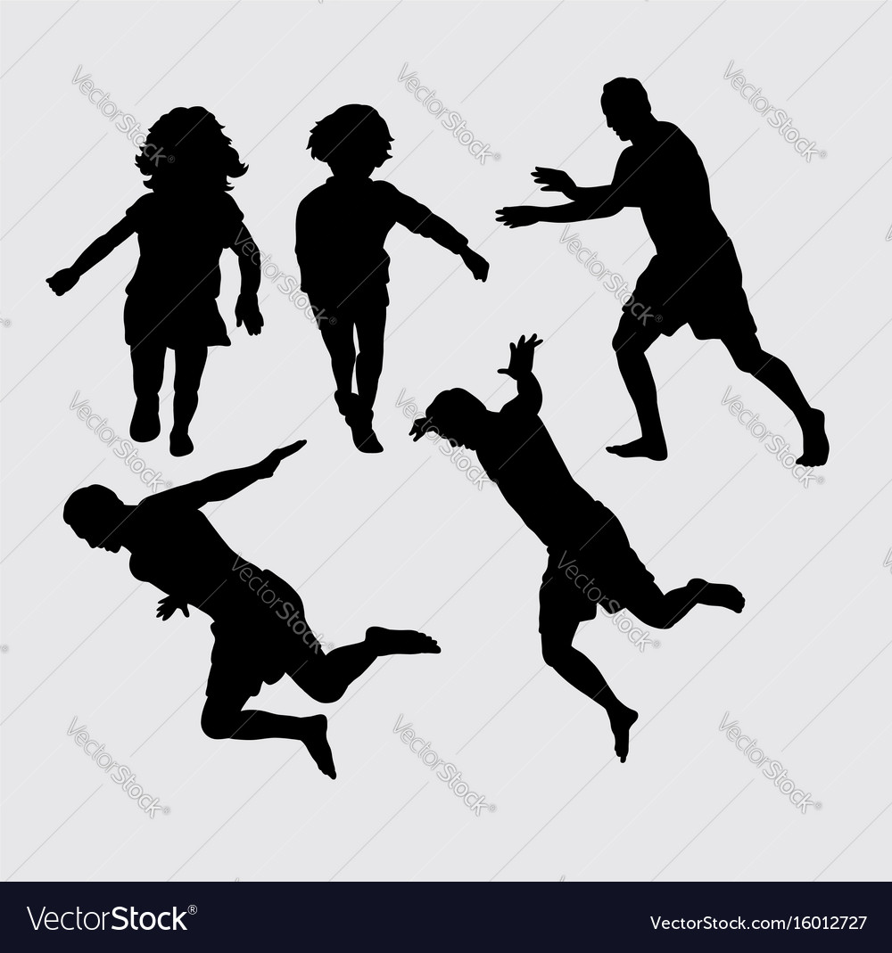 People running and jumping silhouette vector image