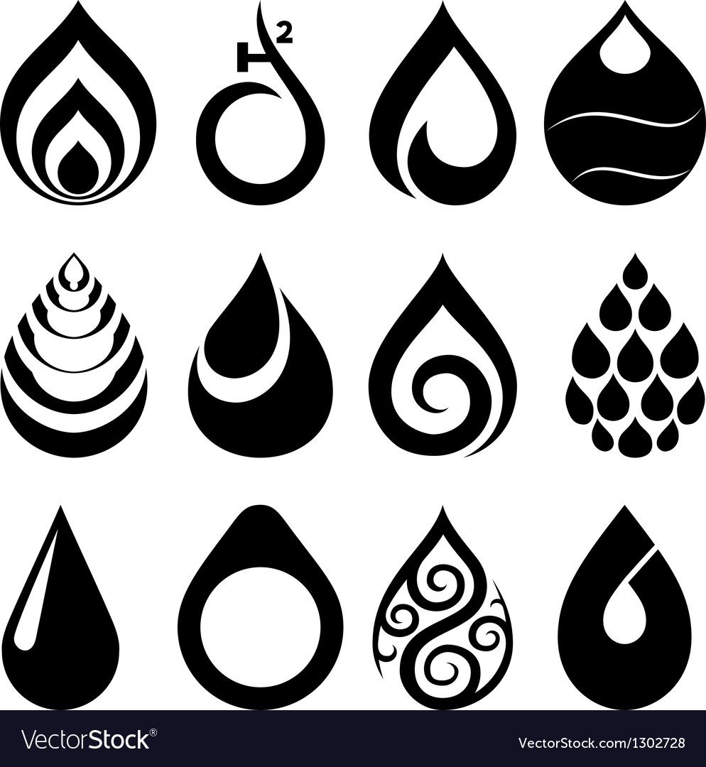 Drop icons and signs set vector image