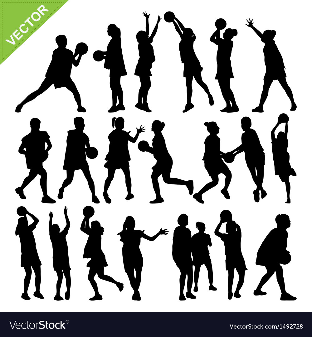 Netball player silhouettes vector image