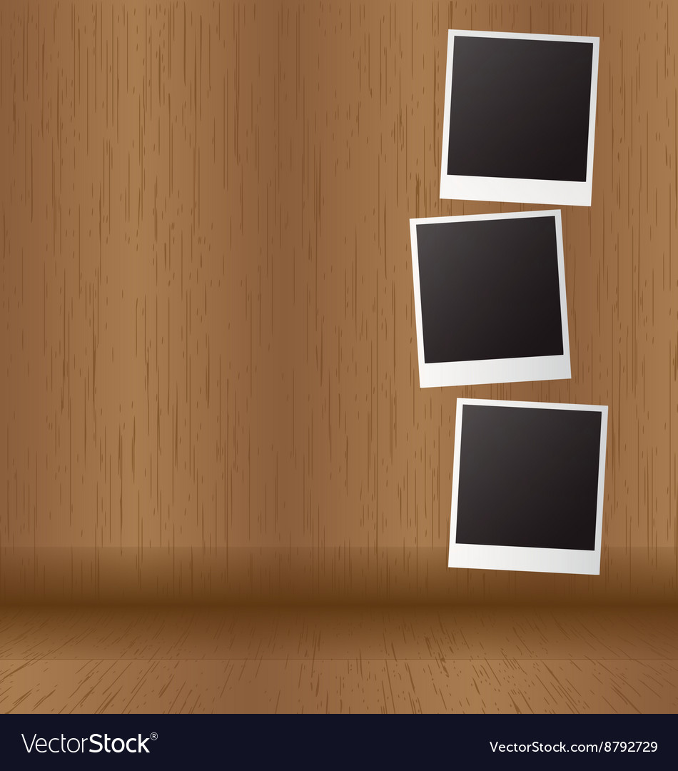 White paper picture frame on wood panel vector image