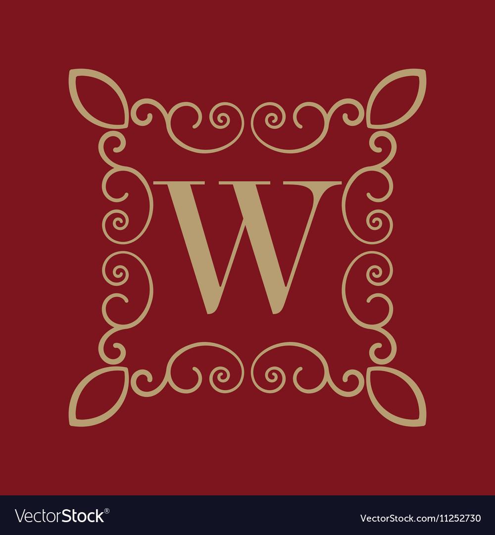 Monogram letter W Calligraphic ornament Gold vector image
