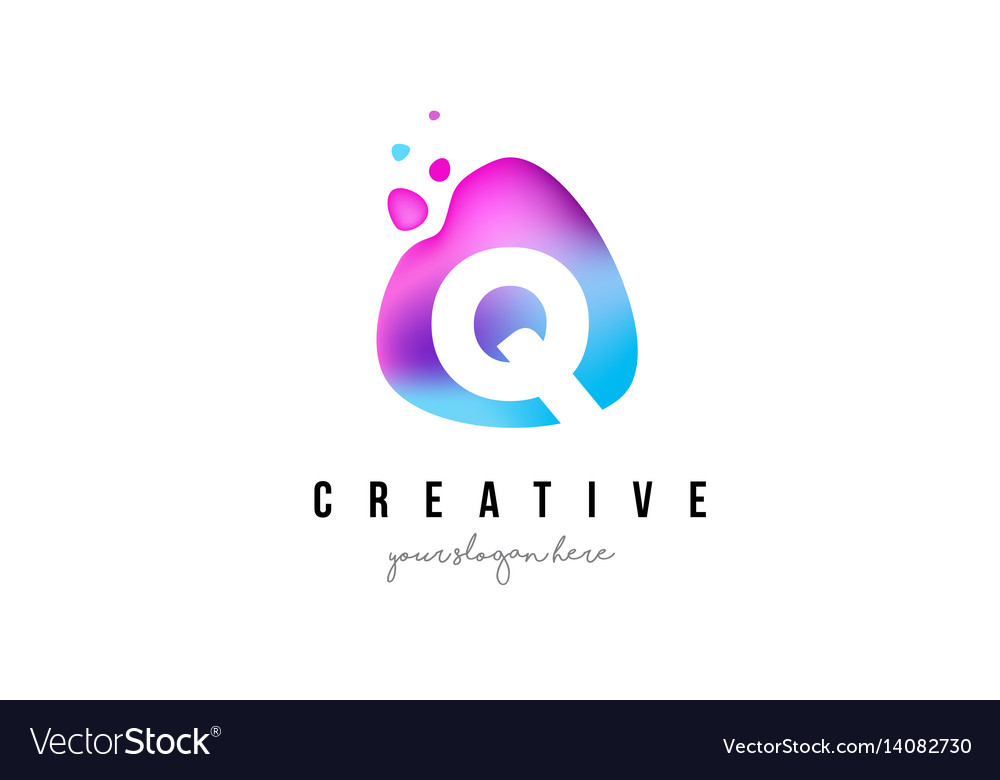 Q letter dots logo design with oval shape vector image