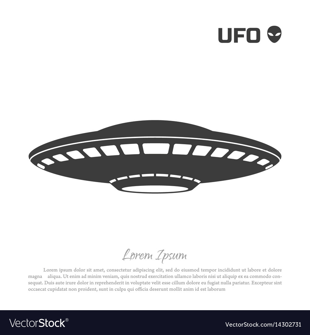 Black silhouette ofa ufo on white background vector image