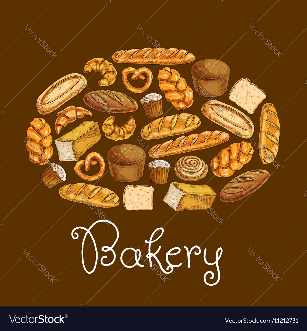 Bread sorts in shape of bread loaf Bakery emblem vector image
