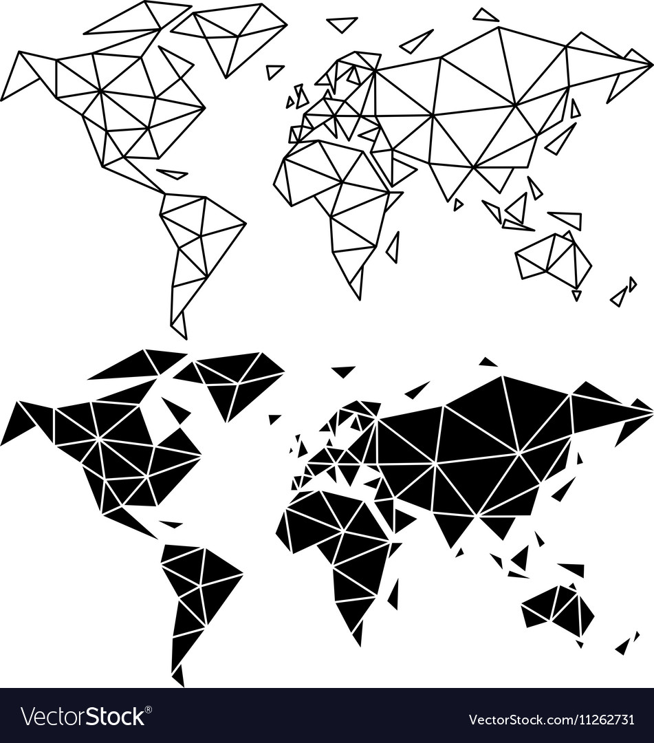 Geometric world map royalty free vector image vectorstock geometric world map vector image sciox Images