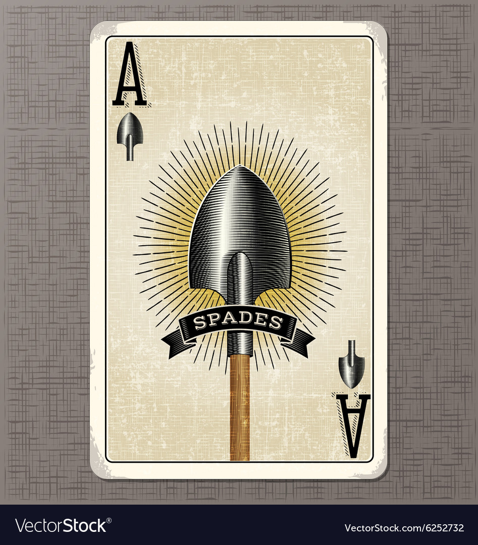 Ace of spades vintage playing card vector image