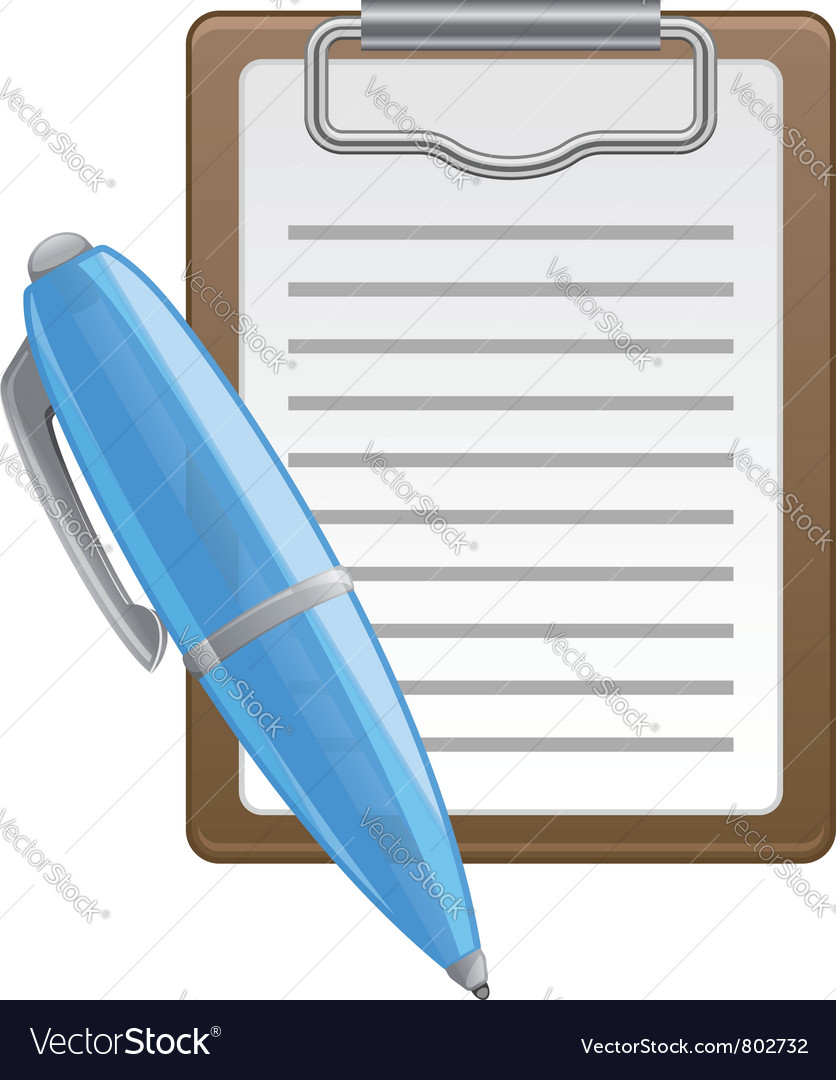 Clipboard and pen vector image