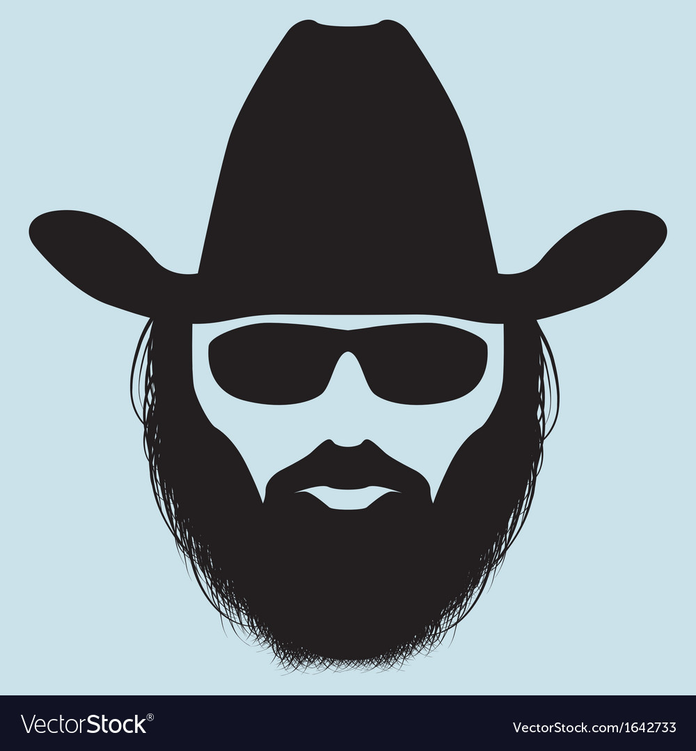 Bearded man silhouette vector image