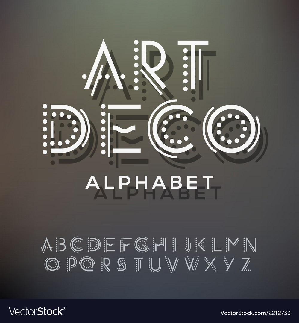 Alphabet letters collection art deco style vector image