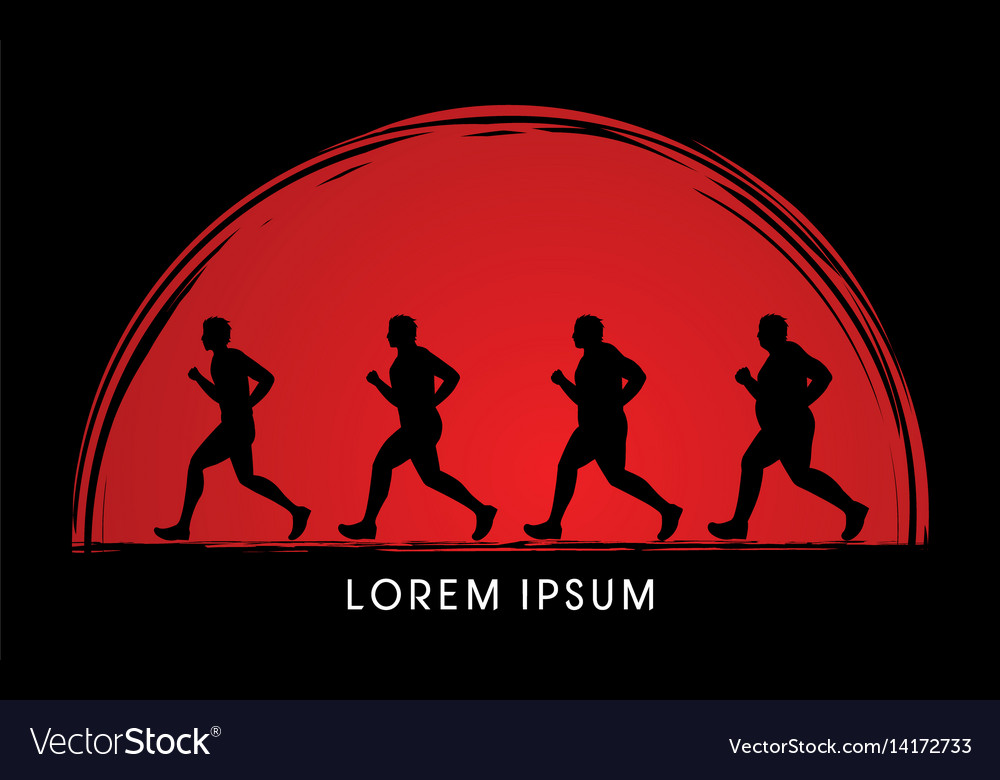 Fat man running step graphic vector image