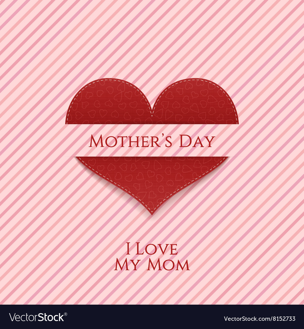 Mothers Day Heart realistic festive Banner vector image