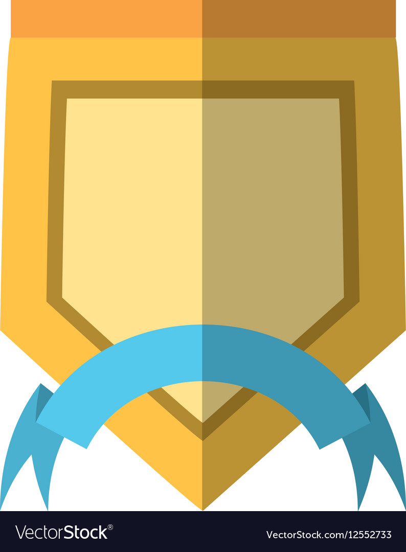 Yellow shield with blue ribbon label shadow vector image