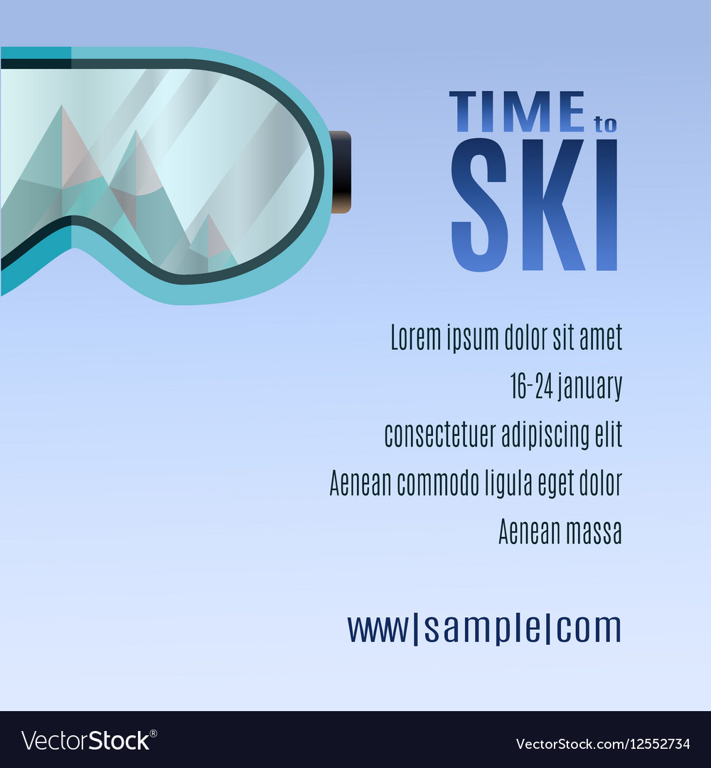 Ski goggles with reflection of mountains vector image