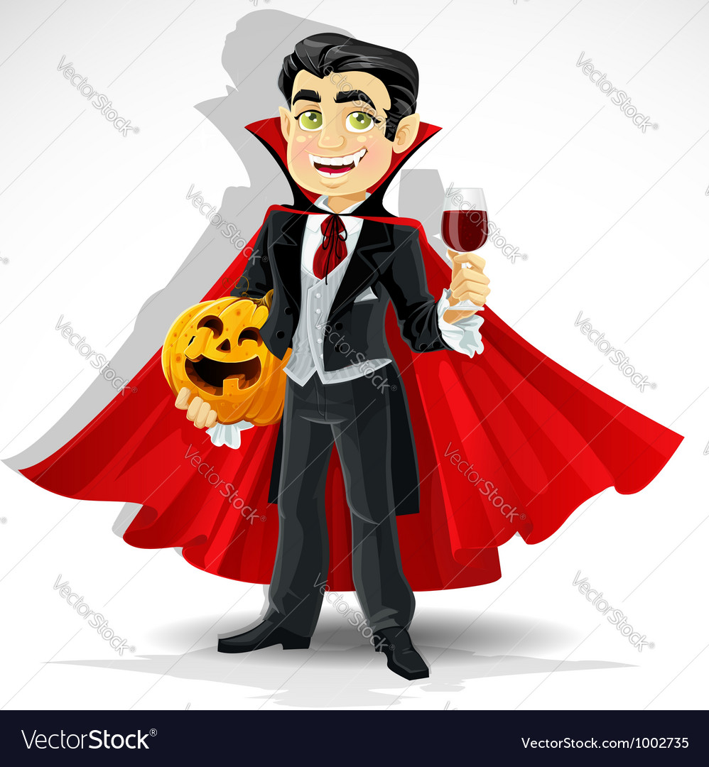 Charming predatory vampire with Halloween pumpkin vector image