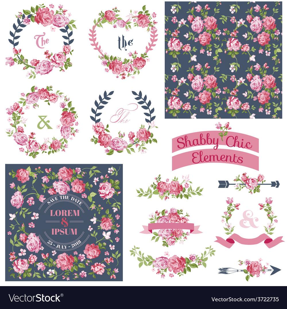 Floral Set - Frames Ribbons Backgrounds vector image
