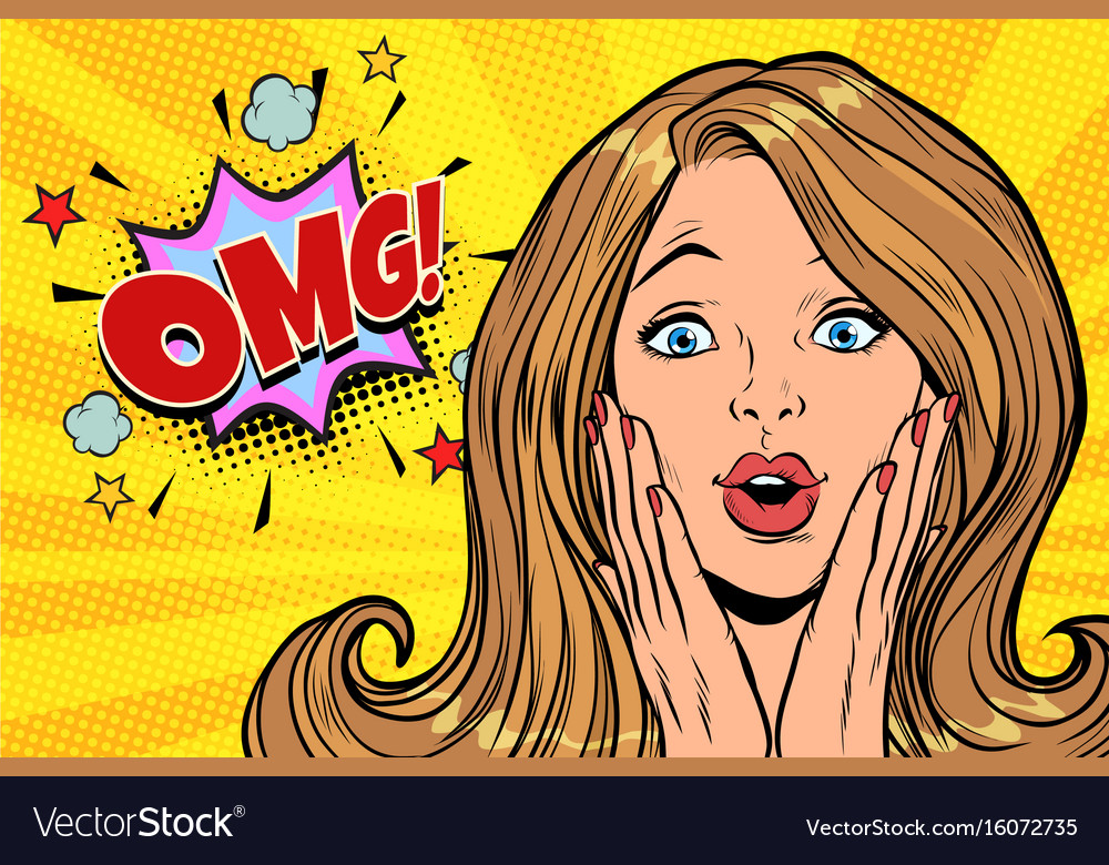 Omg glamorous kitsch pop art blond woman vector image