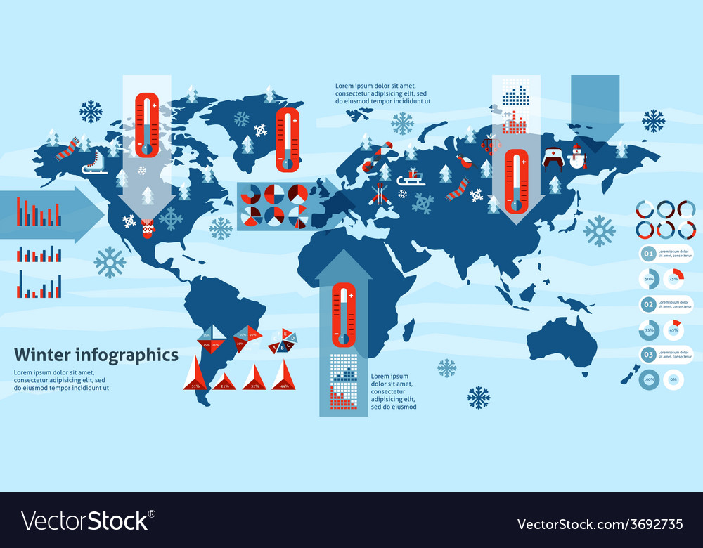 Winter infographics set vector image