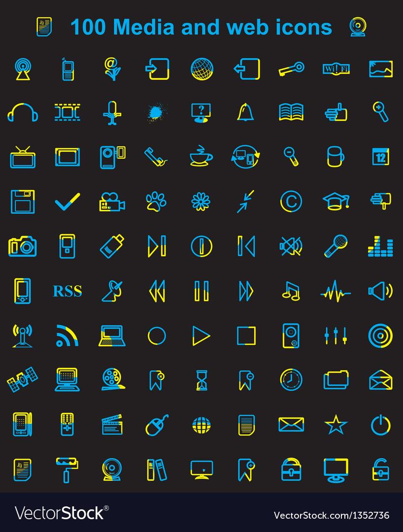Mega media set of 100 icons vector image