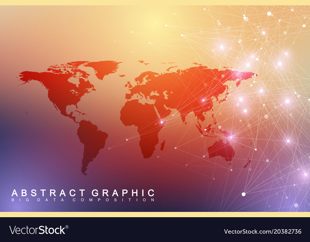 Big data visualization with a world map abstract vector image gumiabroncs Image collections
